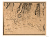 Hawaii - Panoramic Map of Honolulu Art