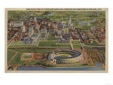 Cleveland, Ohio - Municipal Stadium and Downtown from Air Art