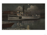 Jacksonville, FL - Night View St. Johns River Boat Prints by  Lantern Press