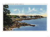 Boothbay Harbor, Maine - View Along Ocean Point, Homes by the Sea Prints