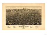 Colorado - Panoramic Map of Colorado Springs No. 1 Prints by  Lantern Press