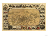 Fresno, California - Panoramic Map Prints