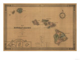 Hawaii - Panoramic State Map Kunstdrucke