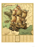 France Represented as a Ship - Panoramic Map Prints by  Lantern Press