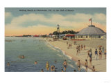 Clearwater, FL - Swimmers & Sunbathers on Beach Prints by  Lantern Press