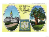 Hartford, Connecticut - a Souvenir of the City, View of Capitol Bldg and Oak Tree Prints by  Lantern Press
