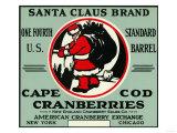 Cape Cod, Massachusetts - Santa Claus Brand Cranberry Label Prints by  Lantern Press