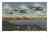 Jacksonville, FL - Navy Bombers over St. John's Rv. Prints by  Lantern Press
