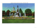 Hartford, Connecticut - Corning Fountain View with State Capitol Bldg in Distance Prints by  Lantern Press