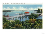 Boothbay Harbor, Maine - Capital Island New Foot Bridge View Prints by  Lantern Press