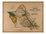 Hawaii - Panoramic Oahu Island Map Prints