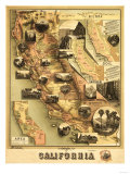 California - Panoramic Map Prints