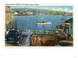 Boothbay Harbor, Maine - Scenic View from the Wharf, Boats and Cars Art