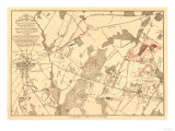 Battle of Gettysburg - Civil War Panoramic Map Art by  Lantern Press