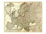 Europe - Panoramic Map Prints by  Lantern Press