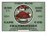 Cape Cod, Massachusetts - Turkey Brand Cranberry Label Art by  Lantern Press