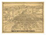 Colorado - Panoramic Map of Colorado Springs No. 3 Art