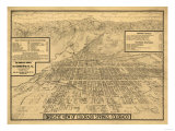 Colorado - Panoramic Map of Colorado Springs No. 3 Art by  Lantern Press