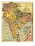 India - Panoramic Map Sztuka autor Lantern Press