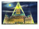 Hartford, Connecticut - Exterior View of the State Capitol Building at Night Art by  Lantern Press