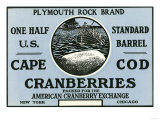 Cape Cod, Massachusetts - Plymouth Rock Brand Cranberry Label Prints by  Lantern Press