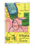 Ithaca, New York - Detailed Map Postcard of Ithaca and Nearby Points of Interest Prints
