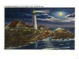 Cape Elizabeth, Maine - Moonlit View of the Portland Head Lighthouse Prints