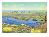 Chautauqua Lake, New York - Aerial Map of Lake and Surrounding Towns Prints by  Lantern Press