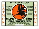 Cape Cod, Massachusetts - Honker Eatmor Cranberries Brand Label Art
