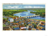 Hartford, Connecticut - Aerial View of the City and the Connecticut River Art