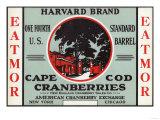 Cape Cod, Massachusetts - Harvard Eatmor Cranberries Brand Label Prints by  Lantern Press