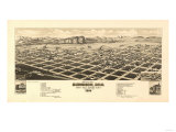 Colorado - Panoramic Map of Gunnison Prints