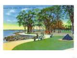 Bridgeport, Connecticut - Seaside Park View of the Seawall Walk Prints