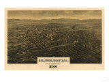 Montana - Panoramic Map of Billings Prints