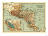 Central America - Panoramic Map Affiches