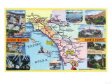 California - Roadmap of Southern CA Romantic Highways Prints by  Lantern Press