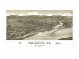 Oregon - Panoramic Map of Dalles Prints