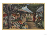 Hollywood, CA - View of Original Farmer's Market Prints by  Lantern Press