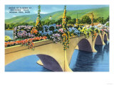 Berkshire Mountains, MA - Mohawk Trail View of Shelburne Falls Bridge of Flowers Prints