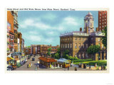 Hartford, Connecticut - Main Street View of State Street and Old State House Prints by  Lantern Press
