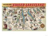 Fingerlakes, New York - Detailed Map Prints by  Lantern Press