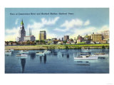 Hartford, Connecticut - Connecticut River View of the Hartfort Skyline, Waterfront Prints by  Lantern Press