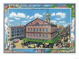 Boston, Massachusetts - Exterior View of Faneuil Hall No. 3 Art by  Lantern Press