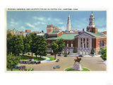 Hartford, Connecticut - Capitol Hill View of Bushnell Memorial, Lafayette Statue Art