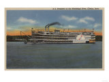 Clinton, IA - View of S.S.President on Miss. River Prints