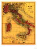 Italy - Panoramic Map Prints by  Lantern Press