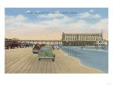 Daytona Beach, FL - Beach View of Pier Casino Prints by  Lantern Press