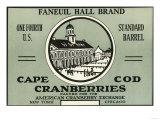 Cape Cod, Massachusetts - Faneuil Hall Brand Cranberry Label Prints