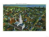 Hartford, Connecticut - Aerial View of the City Prints