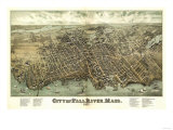 Fall River, Massachusetts - Panoramic Map Art